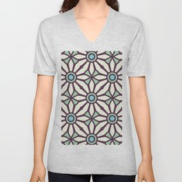Bold and Kitschy Mid Century Pattern in White and Aqua Unisex V-Neck