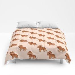 Cute Ruby Cavalier King Charles Spaniel Dog Cartoon Illustration Comforters