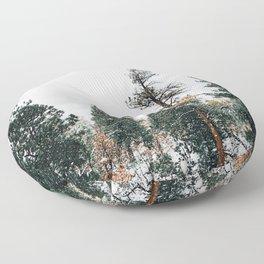 Snow Capped Pine Trees Floor Pillow