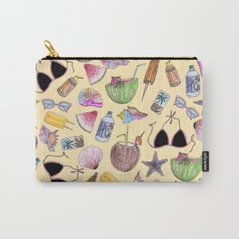 Summer Cute Girly Beach Collage on Yellow Carry-All Pouch