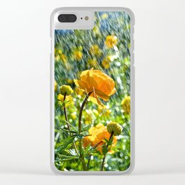 Trollius europaeus spring flowers in the rain Clear iPhone Case