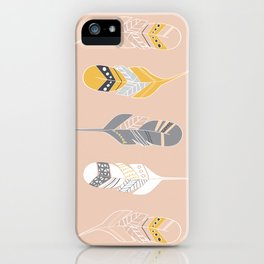 Multi Colored Feathers in Peach iPhone Case