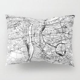 Prague White Map Pillow Sham