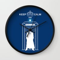 dr who Wall Clocks featuring Dr Who - Strokes by Chimaera Designs