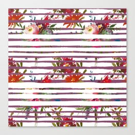 Modern pink orange tropical floral stripes pattern Canvas Print