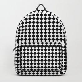 Classic Black & White Small Diamond Checker Board Pattern Backpack