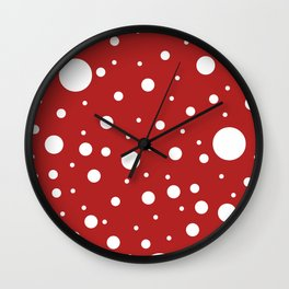 Mixed Polka Dots - White on Firebrick Red Wall Clock