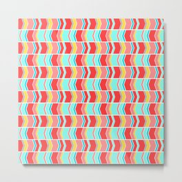 Left and right arrows, directions print in coral and sky blue Metal Print