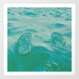Thongs in the sand photo Art Print