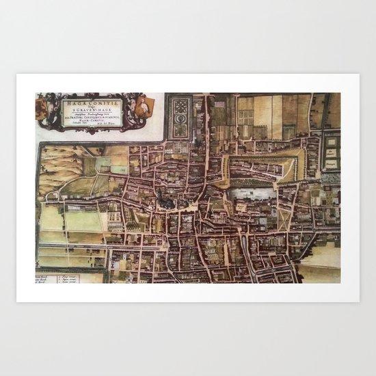Replica city map of The Hague 1649 Art Print