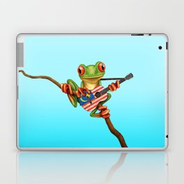 Tree Frog Playing Acoustic Guitar with Flag of Malaysia Laptop & iPad Skin