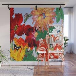 Dazzlin' Dahlias, Tulips, B'flies Wall Mural