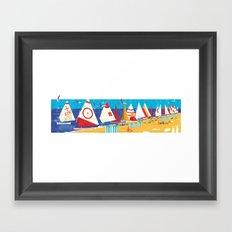 Sailboats on the Beach Framed Art Print