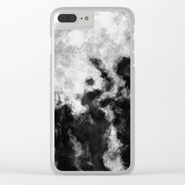 Black and White Minimalist Abstract Painting Clear iPhone Case