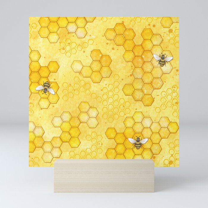 Meant to Bee - Honey Bees Pattern Mini Art Print