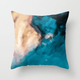 vintage splash painting texture abstract in blue and brown Throw Pillow