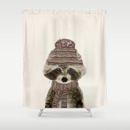 little indy raccoon Shower Curtain