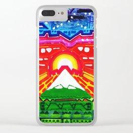 Night Sun Snowy Mountain Clear iPhone Case