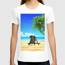 Relaxed elephants at sea T-shirt