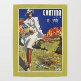 Vintage Italian Alps Cortina summer travel Poster