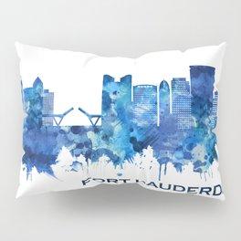 Fort Lauderdale Florida Skyline Blue Pillow Sham
