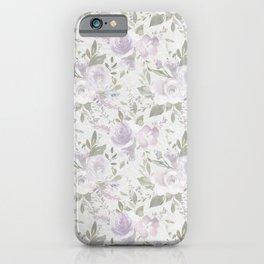 Mauve green lavender blush watercolor boho floral iPhone Case