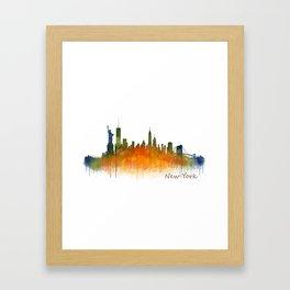 New York City Skyline Hq V02 Framed Art Print