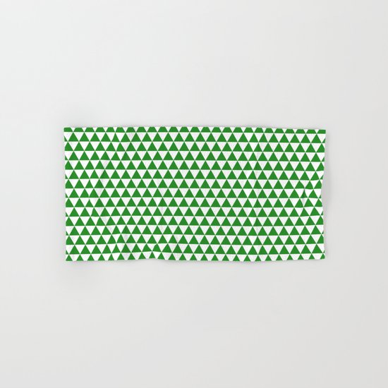 Triangles (Forest Green/White) Hand & Bath Towel