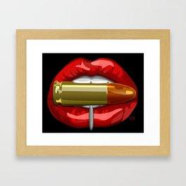 Biting The Bullet Pierced Red Lips on Black Framed Art Print