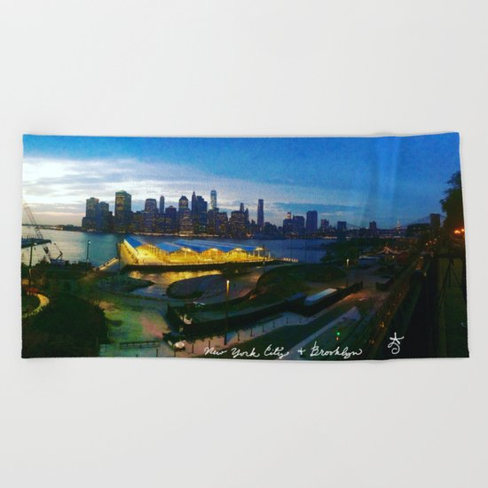 New York City as viewed from the Beautiful Brooklyn Heights Beach Towel