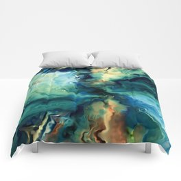 Marbled Ocean Abstract, Navy, Blue, Teal, Green Comforters