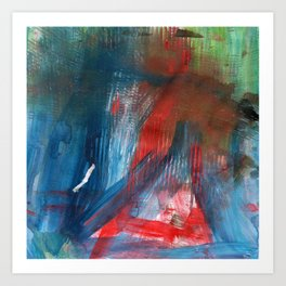 Combed Through Blue and Red Art Print