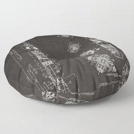 Soyuz Blueprint in High Resolution (black) Floor Pillow