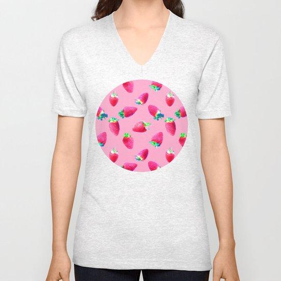 Pink Strawberry Pop Unisex V-Neck