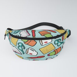 Book Club Pattern in Blue Fanny Pack