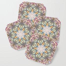 vintage flowers hand drawn and  kaleidoscope mandala Coaster
