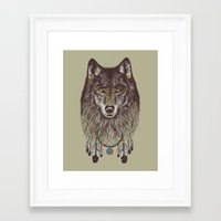 wind Framed Art Prints featuring Wind Catcher Wolf by Rachel Caldwell