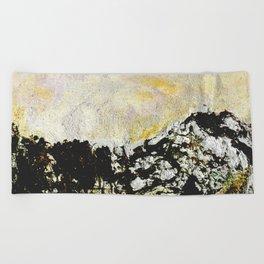 Golden mountains Beach Towel