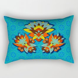 blue Persian pool and red lotus Rectangular Pillow