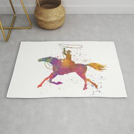 American rodeo cowboy with lasso in watercolor Rug