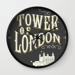 Tower of london England vintage poster Wall Clock