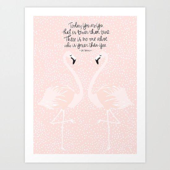 Flamingos on Pink Art Print