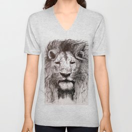 Lion Drawing Illustration Ink Black and White Unisex V-Neck