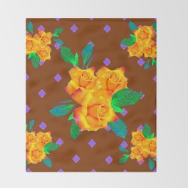 Chocolate Brown Golden Rose Violet Accents Throw Blanket