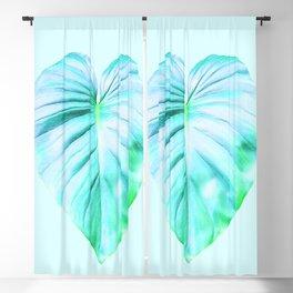Minimal Jungle - Aqua Tropical Leaf Blackout Curtain