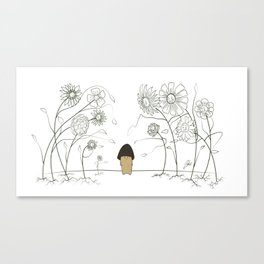 Shroomie and The Pretty Flowers Canvas Print