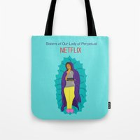 netflix Tote Bags featuring Netflix Nuns by KatieBellProductions