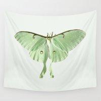 moth Wall Tapestries featuring luna moth by Okti