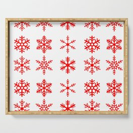 red snowflake seamless pattern Serving Tray