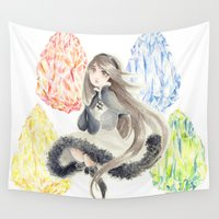 agnes Wall Tapestries featuring Bravely Default Agnes & Crystals Watercolor by Aini